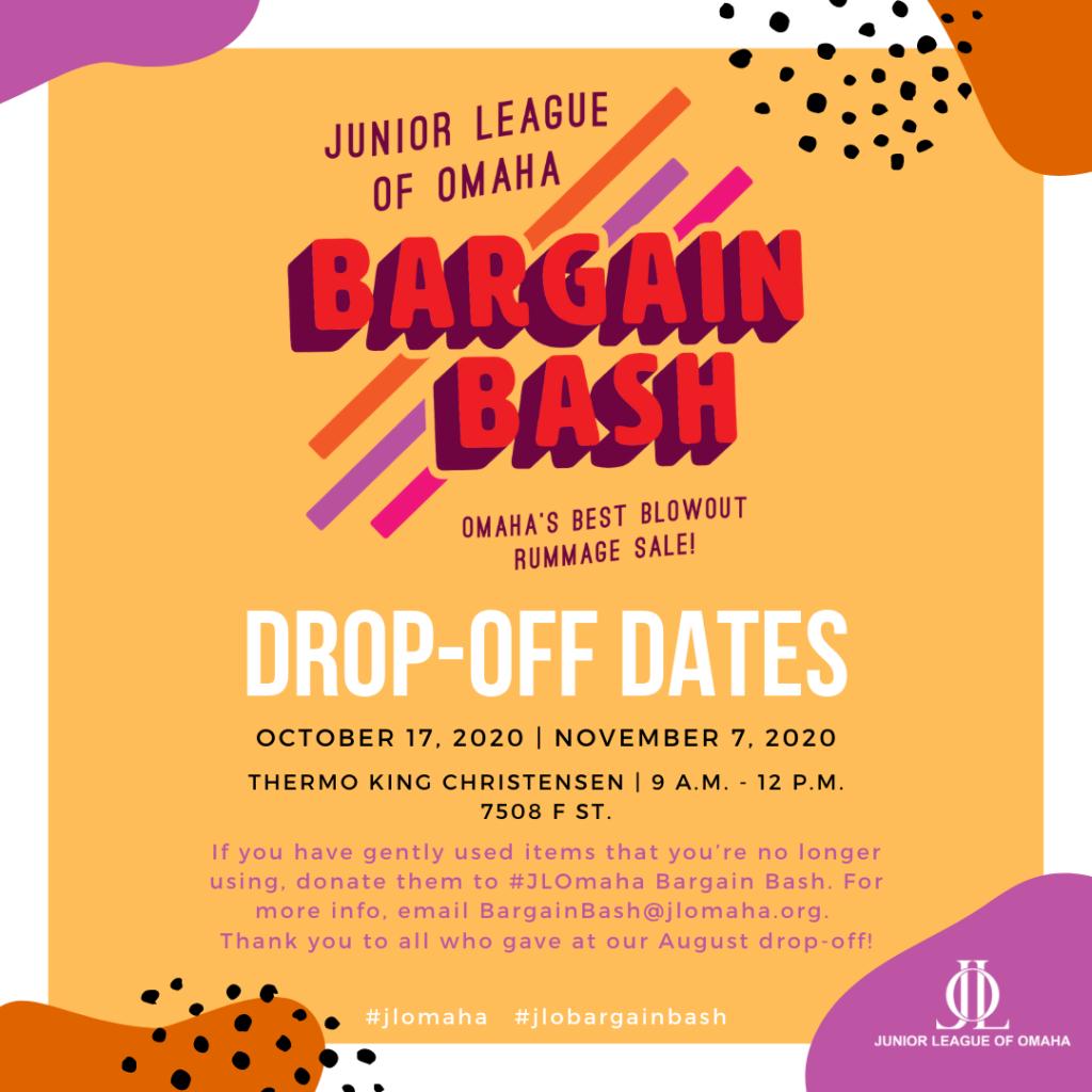 Bargain Bash Drop Off Dates graphic